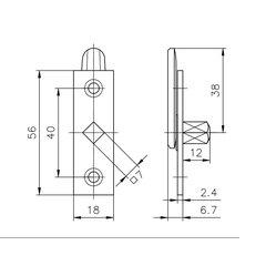 Dorneinreiber 565 auf Platte, mit Vierkantstift, für...