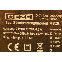 GEZE Stromversorgungsteil RSZ 6 Aus Rauchschaltzentrale...